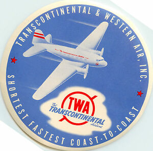 Transcontinental & Western Air ~TWA AIRLINE~  Luggage Label, 1955   ORIG & MINT