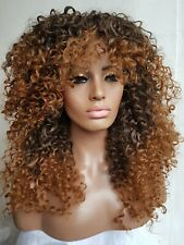 """Long Brown black mix thick fluffy Ombre Big Curly Afro full wig with fringe 24"""""""