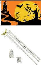 3x5 Happy Halloween Night Flag White Pole Kit Set 3'x5'