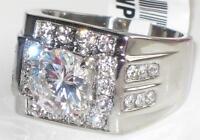 ZTK348PB  MENS MANS 4.70CT SOLITAIRE  SIMULATED DIAMOND RING STEEL NOT TARNISH