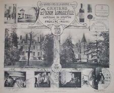 1908 CHATEAU DE PICHON LONGUEVILLE BORDEAUX WINE WINERY VIEWS BY HENRY GUILLIER