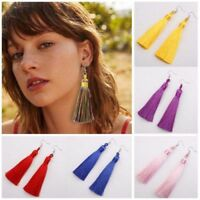 Fashion Bohemian Tassel Earrings Women Ethnic Long Dangle Fringe Hook Earrings