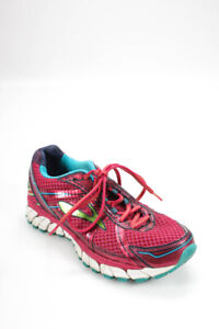 Brooks  Womens Lace Up Mesh Running Sneakers Pink Blue Size 8