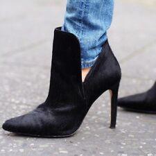 Zara Negro Cuero Potro Pelo Tacón Tobillo Botas Zapatos Tacones UK 6 euro 39