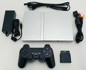 OEM Sony PS2 PlayStation 2 Slim SILVER Console Bundle SCPH-79001 Slimline System