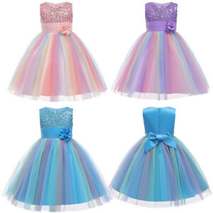 Flower Girls Princess Dress Colorful Shiny Sequins Tulle Wedding Ball Gown Dress