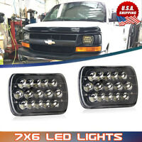 "For Chevy Express Cargo Van 1500 2500 3500 Truck 7''x6"" 6x7 LED Headlights Black"