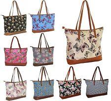 Ladies Nautical Beach Bag Shoulder Canvas Summer Tote Holiday Shopper Gold Zip