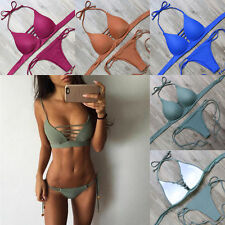 Sexy Damen Padded Bademode Neckholder Push Up Bikini Set Badeanzug Schwimmanzug