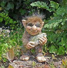 Troll with Fish Garden Ornament Figurine Sculpture Fantasy Home Decor Statue