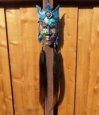 """Bali Wood Hand Carved Face Mask """"Under The Sea"""" Indonesia Horse Hair Signed"""