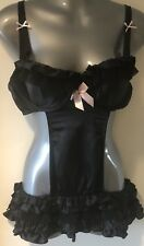 Victoria's Secret Black Satin Lace Apron UW Babydoll Negligée Lingerie 36C