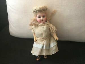 """Rare Antique Jointed 7"""" German Sleep Eye Bisque Head """"Majestic"""" Mignonette Doll"""