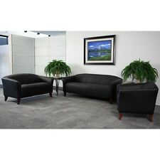 BLACK LEATHER SOFA, LOVE SEAT SIDE CHAIR OFFICE RECEPTION AREA GUEST SEATING SET