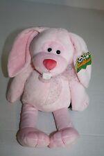 "The Petting Zoo EASTER BUNNY RABBIT 15"" Pink Plush Big Teeth Long Ears Stuffed"