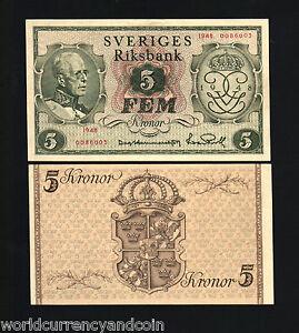 SWEDEN 5 KRONER P41 1948 KING COMMEMORATIVE UNC RARE CURRENCY MONEY BANK NOTE