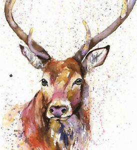 Limited Edition Print of PROUD STAG watercolour by HELEN APRIL ROSE    342