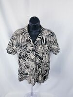 Erika Brand Women's Blouse Top Button Down Hawaiian Palm Print Petite PM