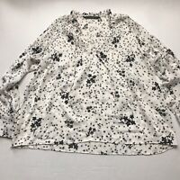 Zara Basic Black White Oversized Long Sleeve Floral Star Print Top Size XS a1301