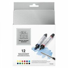 Winsor & Newton Artist Watercolour Twin-Tip Marker Pen Set - 12 Colour Tin