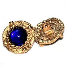 Beau bouton vintage en métal doré et et verre bleu 15mm button