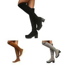 Para Mujer señoras Postal Bloque Grueso Taco Plataforma Sobre La Rodilla Elástico Botas Zapatos