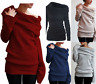 Women Off Shoulder Sweater Jumper Baggy Ladies Chunky Knitted Oversize Shirt Top