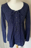 Fat Face Cute Ditsy Print Navy Tunic Top Uk 10 Back Tie 100% Cotton