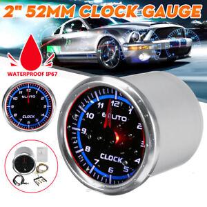 "2"" 52mm Clock Gauge Meter Red & Blue LED Backlight Waterproof Marine Automotive"
