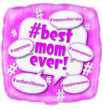 """MOTHERS DAY GIFT PARTY BEST MUM SQUARE SHAPE FOIL BALLOON 18"""" HELIUM OR AIR 45CM"""