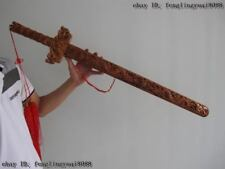 China Folk Handwork Carve Feng Shui Evil spirits Dragon peach Wood glaive sword