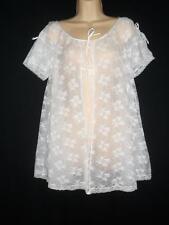 a6f4157ef7b Vintage LACE CHIFFON Peignoir Babydoll Robe Hollywood Vassarette White  Nylon S M