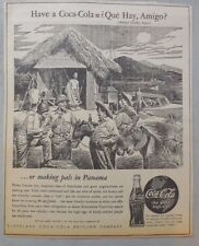 "Coca-Cola ad: Fantastic Frank Godwin Artwork! 1940's  9 x 12 inches ""Panama"""