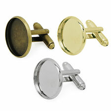 18mm ROUND CUFFLINKs Cabochon Glass Setting Findings Blanks DIY ROSE GOLD Bases