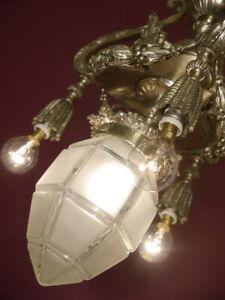 RARE SHAPE NICKEL LANTERN SOLID CEILING LAMP FIXTURES CHANDELIER CUT GLASS