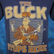 vintage 80s The Buck Stops Here Hunting Cartoon T-Shirt Small deer rifle thin