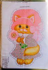 Vintage Kitten Cat In Pink Dress Cut & Sew Pillow Fabric Panel Uncut 70's