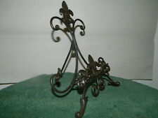Ornate Decorative Wrought Iron French Fleur de Lis Easel Picture Plate Holder