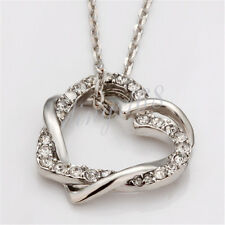 18K White Gold Filled Korean Style Crystal Heart Pendant + Chain Necklace H028