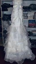 NEW!! WEDDING DRESS WHITE LACE BEADED MERMAID SWEETHEART SOFT RUFFLES SIZE 4/6