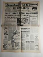 N258 La Une Du Journal Le dauphiné 6 juin 1967 violent combats chars neguev
