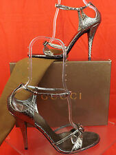 NIB GUCCI GUNMETAL PYTHON LEATHER CLEAR STONE SANDALS PUMPS 10 #182032