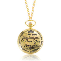 Mens Pocket Watch TO MY SON Carved Case with Chain Vintage Stylish Luxury Gift