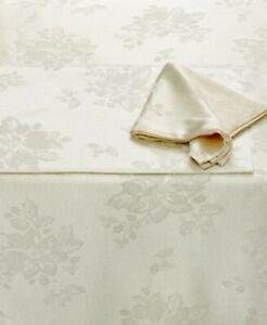"HOMEWEAR LINENS DINNER PARTY NOEL Ivory Oblong Table Cover 60"" x 84"" 6 Napkins"
