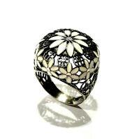 Bijou argent 925 bague rosace émaillée filigranée taille 59 ring