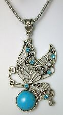 NEW SILVER TONE CHAIN NECKLACE BUTTERFLY PENDANT BLUE FAUX TURQOUISE RHINESTONES