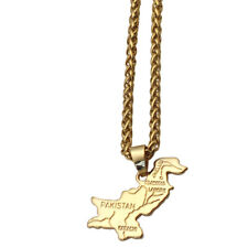 Pakistan map stainless steel 60 cm chain necklace