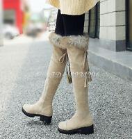 Winterstiefel Damen Runde Kunstpelz Stiefel Overkneestiefel Boots 3 Farbes Mode