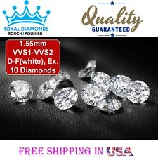 10 Round Brilliant cut Diamonds Loose Natural Real Size-1.55mm VVS D-F EX Real