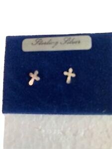 Vintage Old Stock Sterling Silver Stud Cross Earrings